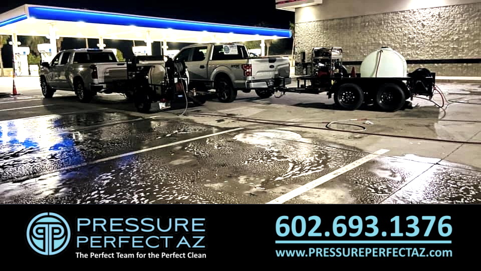 Commercial Business gas station pressure washing parking lot cleaning sweeping sanitation in Phoenix and Buckeye AZ