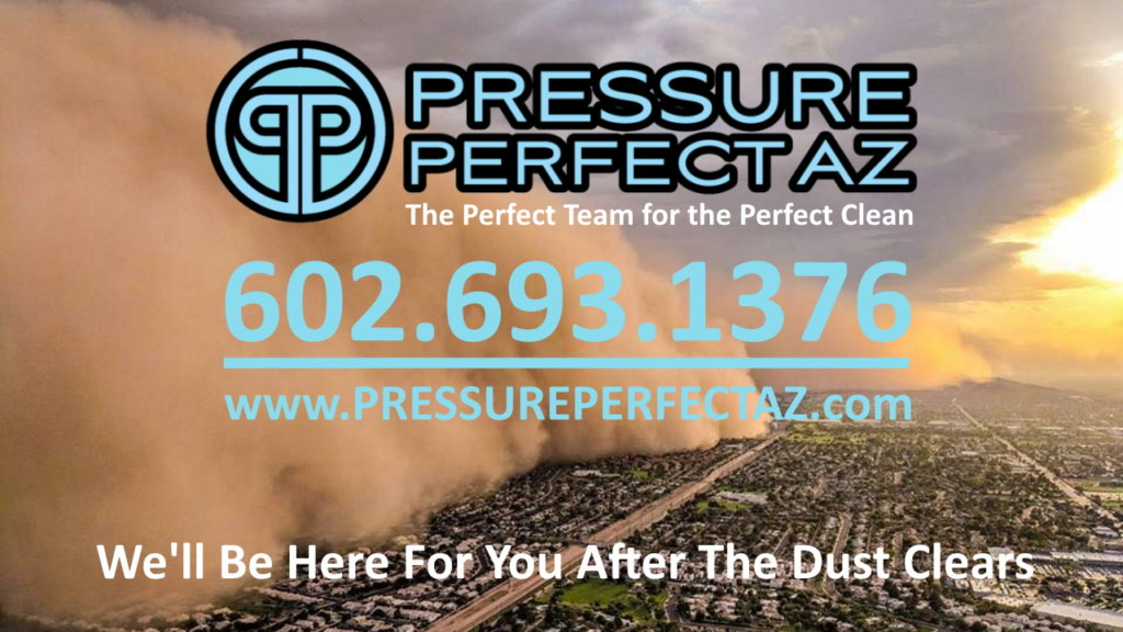 Phoenix Arizona Commercial building cleanup and pressure washing after a dust storm Summer Haboob